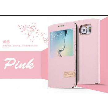 USAMS® Etui Housse Coque pour Samsung Galaxy S6 Cuir Rose/Pink - Muge Series NEUF