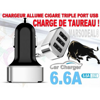 CHARGEUR  ALLUME CIGARE TRIPLE (3) PORTS USB OUTPUT Max 6.6 A NEUF