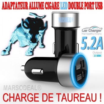 Chargeur allume cigare LED HAUTE PERFORMANCE Double Sortie USB 5,2A NEUF