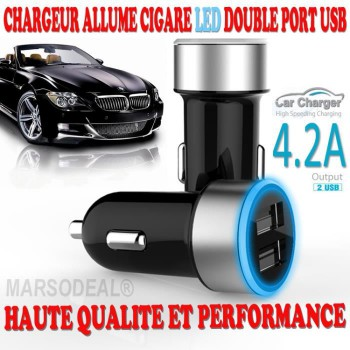Chargeur Allume cigare à LED haute performance double sorties USB - 4.2A NEUF