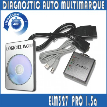Interface Diagnostique auto ODB2 ELM327 multimarque 1.5 PRO USB en Français  NEUF