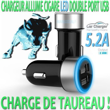 MARSODEAL® CHARGEUR ADAPTATEUR ALLUME CIGARE A LED 5.2A DOUBLE PORT USB