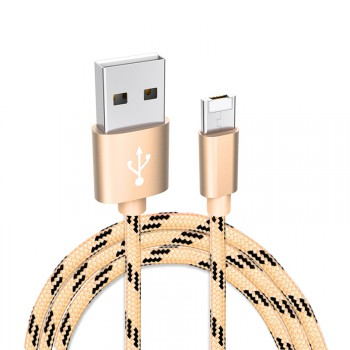 "USAMS® Cable USB 2 en 1 (Lightning + Micro) Compatible avec iOS 9 Android Or Haut de gamme ""U-Double Series"" NEUF"