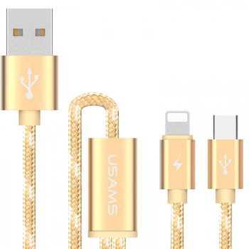 "USAMS® Cable USB 2 en 1 (iOS + Type-C) Or Haut de gamme ""U-Knit Series"" NEUF"