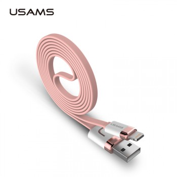 "USAMS® Cable USB Alliage de Zinc Alloy Plat Flat Noodle Or rose 1000mmm Haut de gamme pour iPhone 5S 6S 6S Plus etc. ""U-Like Series"" NEUF"