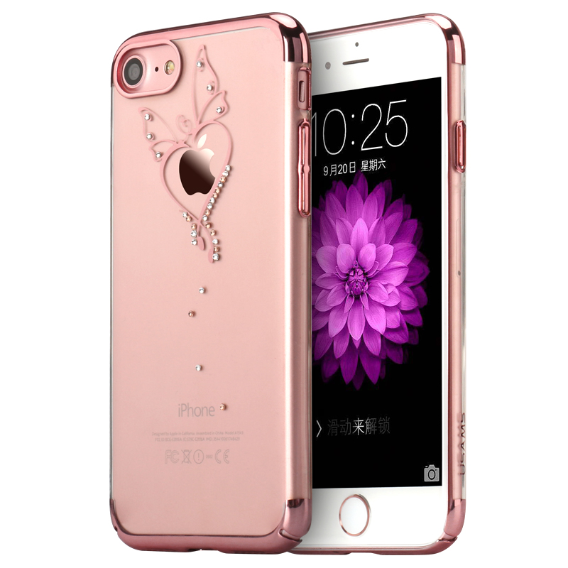 usams coque housse protection etui cover case butterfly or rose pour iphone 7 plus zander. Black Bedroom Furniture Sets. Home Design Ideas